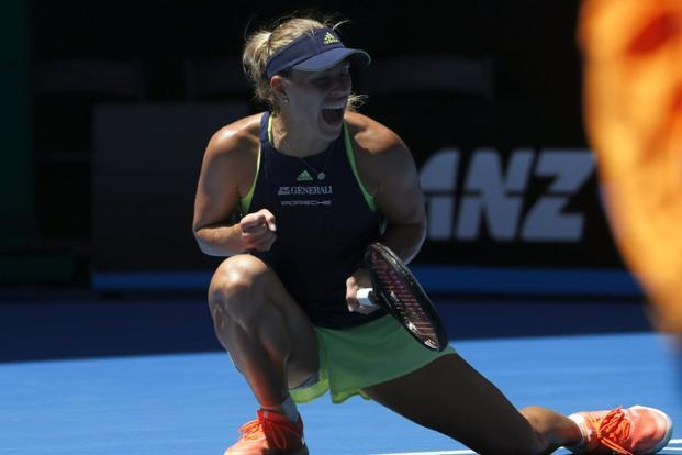 After crushing Maria Sharapova in the last round, Germany's Angelique Kerber came up against gritty Taiwanese veteran Hsieh Su-wei who stunned the 21st seed by taking the first set on Rod Laver Arena. At one point Kerber was serving to stay in the match, but she bounced back to win 4-6, 7-5, 6-2. Photo: Reuters