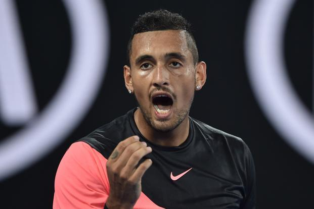Australia's Nick Kyrgios lost to Bulgaria's Grigor Dimitrov during their men's singles fourth round match on day seven of the Australian Open tennis tournament in Melbourne on Sunday. Photo: AFP