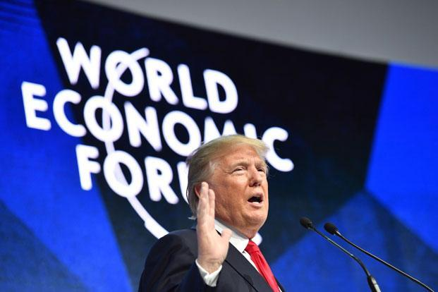 US President Donald Trump delivers a speech during the World Economic Forum (WEF) annual meeting on Friday in Davos, eastern Switzerland. Photo: Nicholas Kamm/AFP