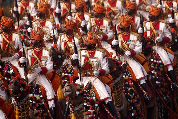 Indian soldiers march during the Republic Day parade in New Delhi on Friday. Photo: Adnan Abidi/Reuters