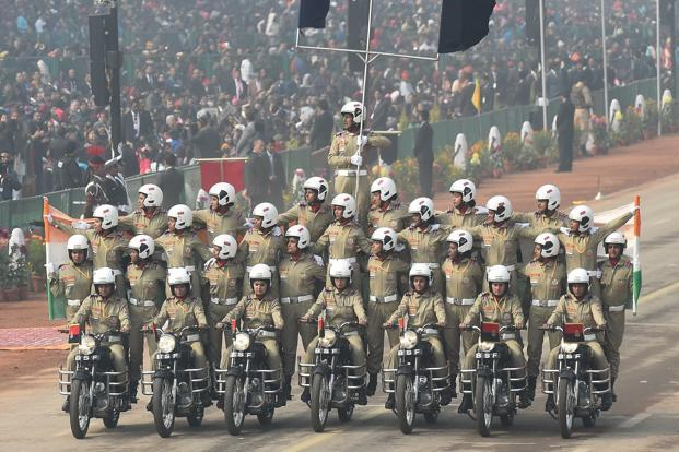 The Indian Border Security Force women's motorcycle team 'Seema Bhawani' performs during India's 69th Republic Day parade in New Delhi on Friday. Photo: Prakash Singh/AFP