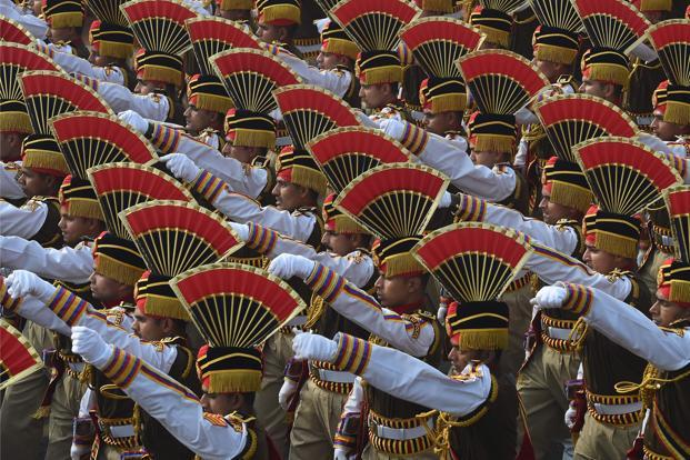 The Delhi police contingent march past during the 69th Republic Day parade in New Delhi on Friday. Photo Prakash Singh/AFP