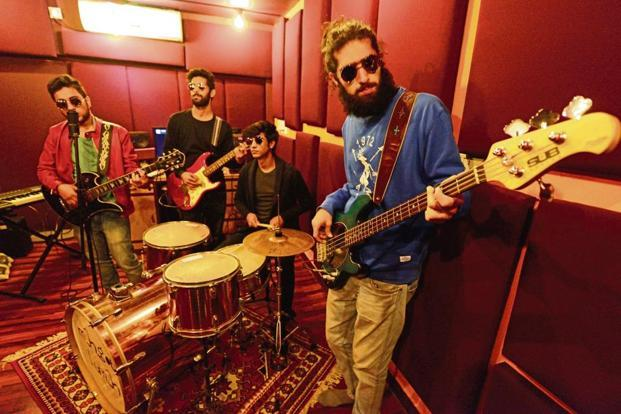 The band members of Man.Goes Human at a rehearsal. Photo: Pradeep Gaur/Mint