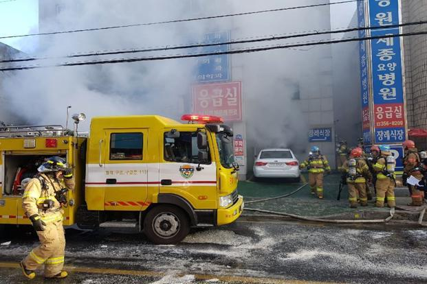 South Korea police say around 200 people were in the Sejong Hospital building when the fire broke out. Photo: AP