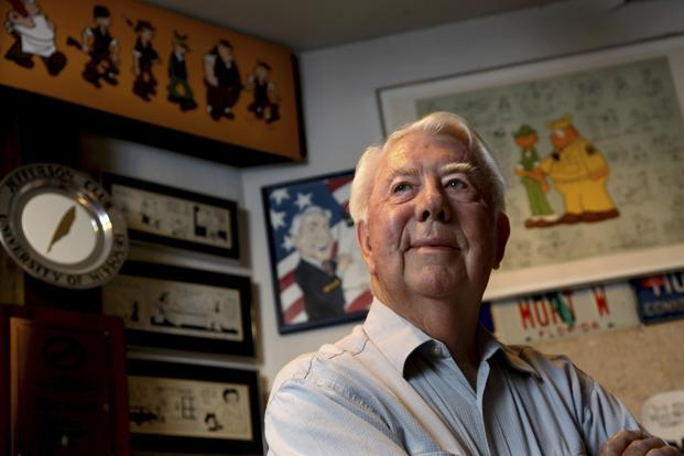 Mort Walker drew his daily award-winning comic strip 'Beetle Bailey' for 68 years, longer than any other comic strip artist. Photo: AP