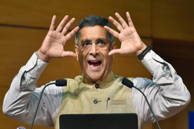 Chief economic adviser Arvind Subramanian gestures as he addresses the media after annual Economic Survey 2017-18 was tabled in Parliament in New Delhi on Monday. Photo: PTI