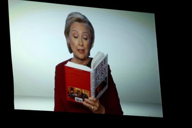 Hillary Clinton appears on screen reading an excerpt from the book 'Fire and Fury' during a skit at the 60th annual Grammy Awards at Madison Square Garden in New York on Sunday. Photo: AP