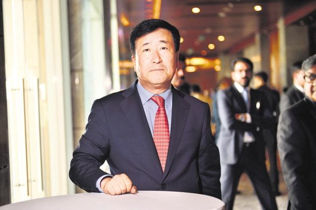 Hyundai India CEO Y.K. Koo. The carmaker, which will showcase two electric cars at Auto Expo 2018, has asked the govt to reduce GST rate on electric and hybrid vehicles. Photo: Pradeep Gaur/Mint