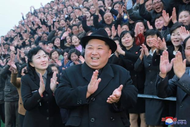 North Korea's leader Kim Jong Un. The official KCNA released its report on Pyongyang's annual white paper on US human rights violations as Donald Trump began his State of the Union speech.