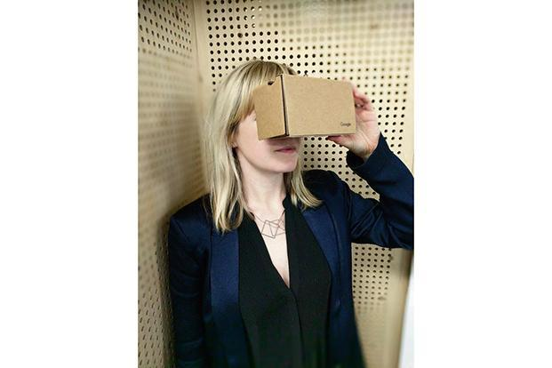 Freya Murray using Google Cardboard.  Courtesy: Google Cultural Institute