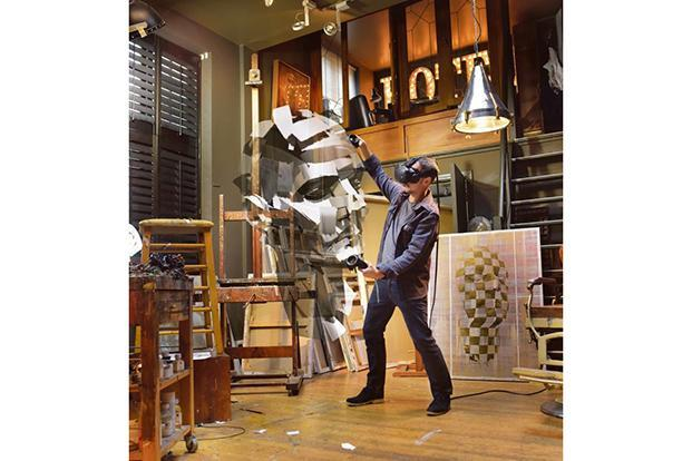 British artist Jonathan Yeo making his 3D self- portrait in VR. Courtesy: Google Cultural Institute