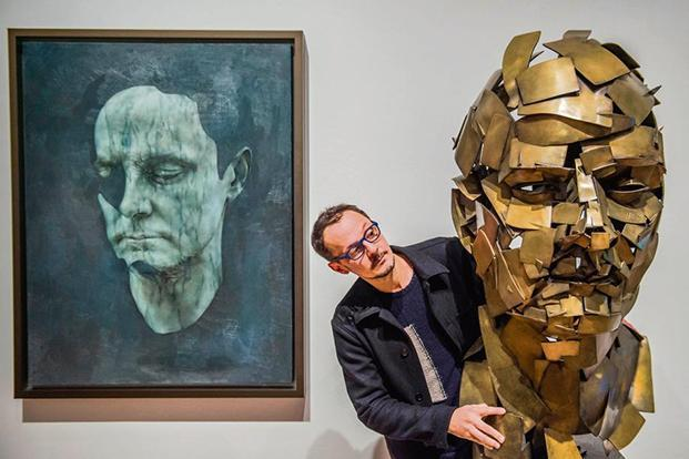Yeo with his 3D painted sculpture. Photo: Alamy