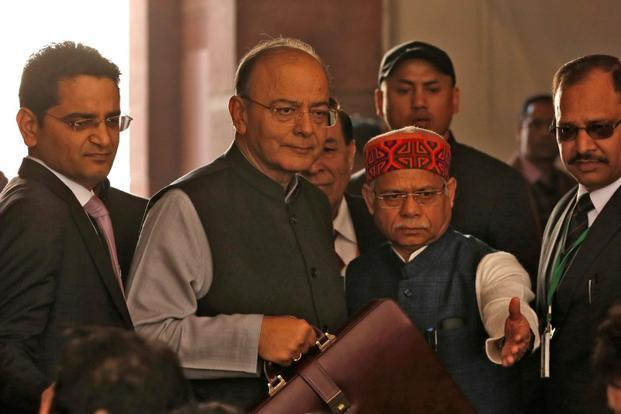 Finance minister Arun Jaitley arrives at Parliament to present the Union budget in New Delhi on 1 February. Photo: Reuters