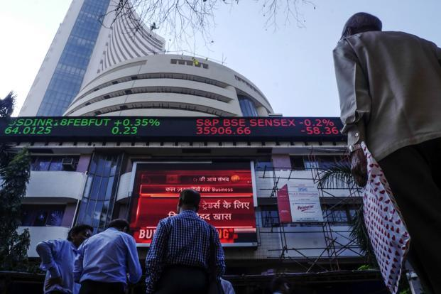 BSE's 30-share benchmark Sensex shed 309.59 points, or 0.88%, to  close at 34,757.16 points. Photo: Bloomberg