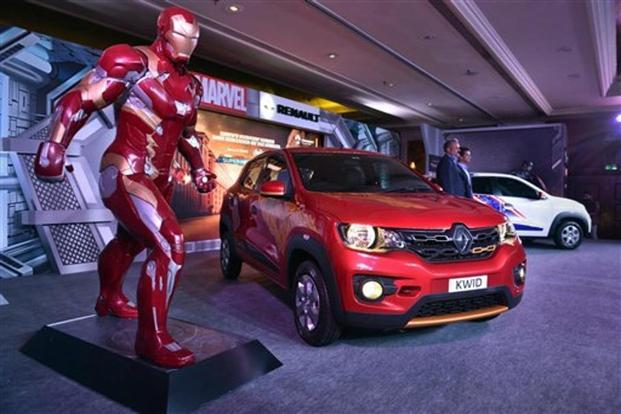 Renault Kwid Superhero edition models themed on Iron Man and Captain America during their launch in New Delhi, on Monday. Photo: PTI