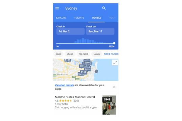 Google now provides users the option to check out hotels from the Flights section.