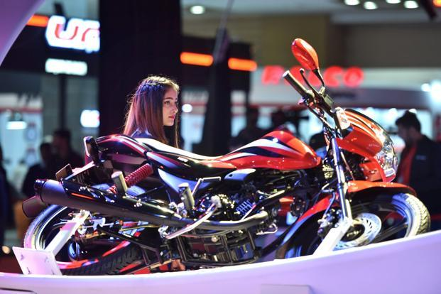 A TVS Motor bike is showcased at the Auto Expo 2018 in Greater Noida on Wednesday. Photo: PTI