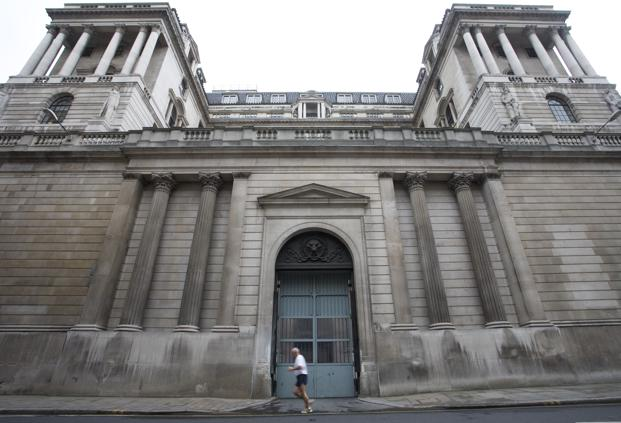 BOE building in London. In its updated forecasts, the BOE sees growth at 1.8% this year and next, up from its November projections. Bloomberg