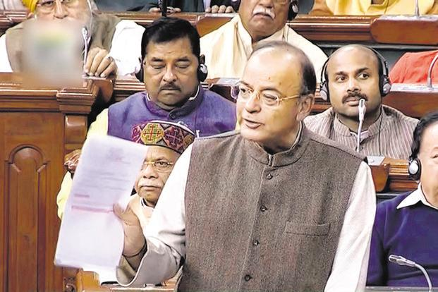 Finance minister Arun Jaitley in the Lok Sabha on thursday
