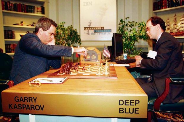 A file photo of Garry Kasparov (left) playing against IBM supercomputer Deep Blue operated by IBM's Joe Hoane in New York. Deep Blue made chess history when it defeated Kasparov, the first time a computer triumphed over a reigning world champion. Photo: Reuters