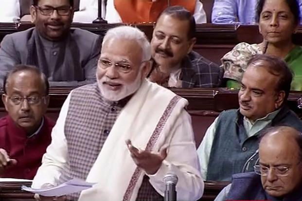 Prime Minister Narendra Modi made a remark about Renuka Chowdhury in Rajya Sabha on Wednesday, much to the amusement of top BJP leaders and other ministers sitting around him. Photo: PTI