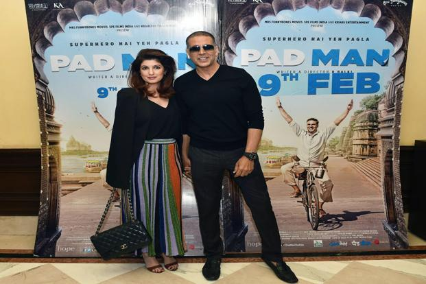 Bollywood actor Akshay Kumar with his wife Twinkle Khanna during a promotional event for his film Padman in New Delhi. Photo: PTI