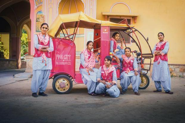 The Pink City Rickshaw Co. brigade. Photographs courtesy ACCESS Development Services