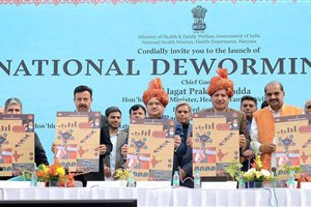 Health minister J.P. Nadda (centre) with others during the launch of National Deworming Day programme in Gurugram on Saturday. Photo: PTI