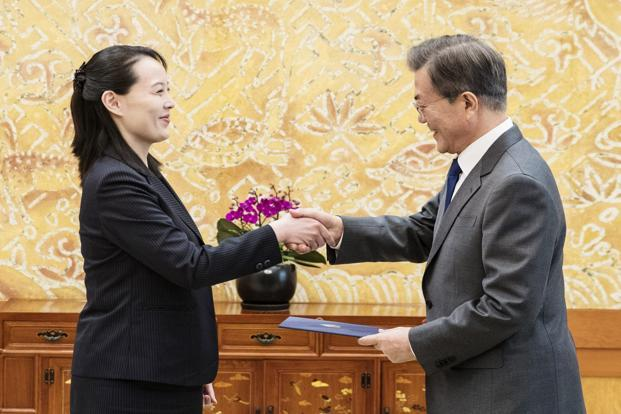 The invitation was delivered by Kim's sister, Kim Jo Yong, during a Saturday meeting at Moon's presidential compound in Seoul a day after the opening ceremony for the Winter Olympics in South Korea. Photo: AFP