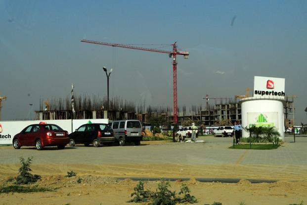 A file photo of the construction site of the Supertech Eco Village 2 in Noida Extension. MD Mohit Arora said Supertech is in talks with three other local builders to add more projects in its portfolio.