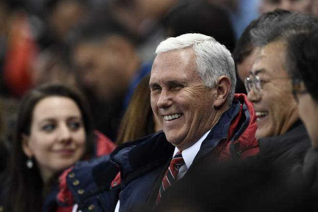 US vice-president Mike Pence and South Korea's President Moon Jae-in agreed to pursue dialogue with North Korea during conversations at the Winter Olympics in Pyeongchang. Photo: AFP