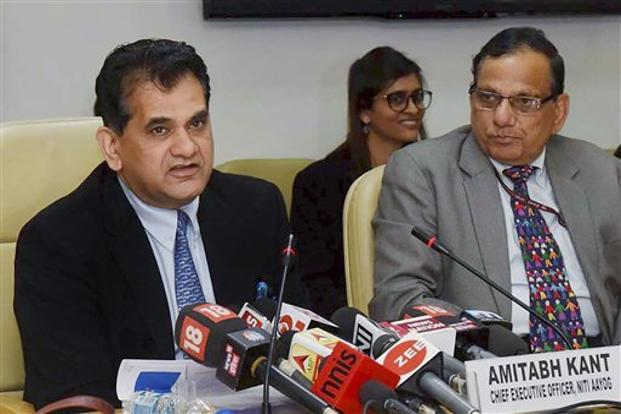 NITI Aayog CEO Amitabh Kant speaks during the release of 'Healthy States, Progressive India' report on Friday. Uttar Pradesh health minister Sidharth Nath Singh held a meeting with NITI Aayog on Tuesday. Photo: PTI