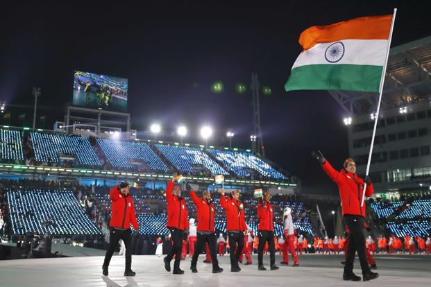 The Indian contingent during the opening ceremony of the 2018 Winter Olympics in Pyeongchang, South Korea. Photo: Reuters
