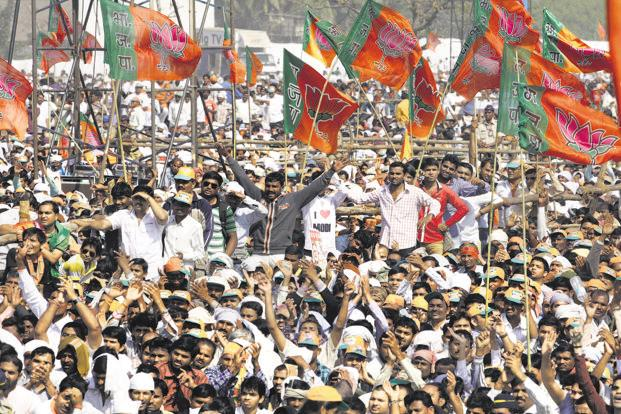 A file photo of a BJP rally in Mumbai. The party's planned campaign is partly inspired by the support it got from Muslim women in the Uttar Pradesh assembly elections last year. Photo: HT