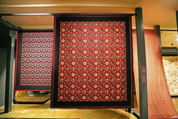Double Ikat panels by Govardhan, 1981, both at the National Handicrafts and Handlooms Museum in New Delhi Photo: Devi Art Foundation.