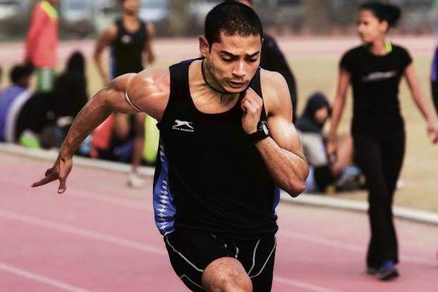 Sprinter Nisar Ahmad in a practice session at Thyagaraj stadium, New Delhi. Photo: Pradeep Gaur/Mint