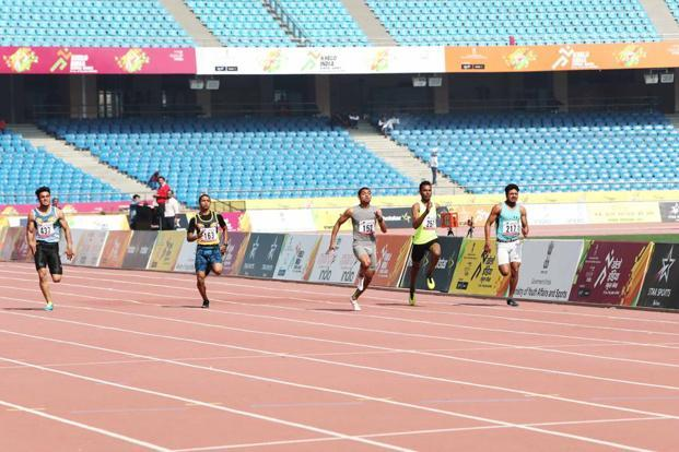 Nisar Ahmad during the final of the boys' 100m run at the Khelo India School Games in Delhi on 2 February. Photo: Sanjay Gupta
