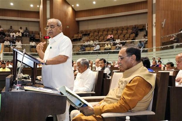 Nitin Patel presents Gujarat Budget; Opposition walks out