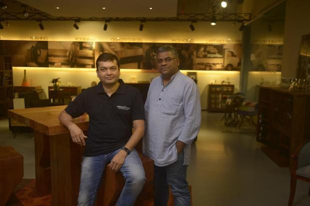 Ambareesh Murty, co-founder and CEO (right), along with Ashish Shah, co-founder and COO of Pepperfry, at their shop in Mumbai. Photo: Abhijit Bhatlekar/Mint