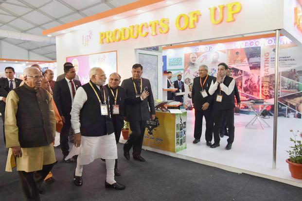 Prime Minister Narendra Modi after the inauguration of the UP Investors Summit 2018 in Lucknow on Wednesday. Photo: PTI