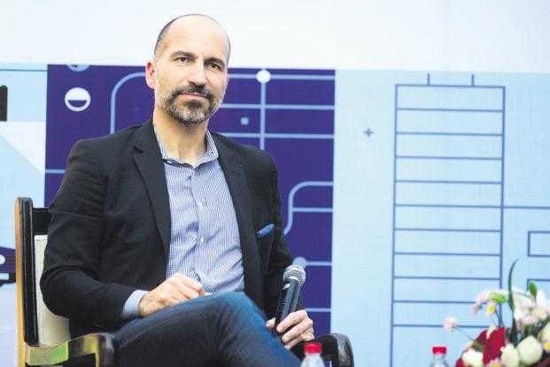 Uber CEO Dara Khosrowshahi in New Delhi on Thursday. SoftBank as a common investor has spawned speculation of an Uber-Ola merger. Photo: Pradeep Gaur/Mint