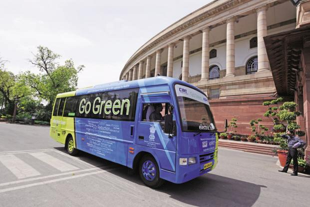A file photo of an electric bus at the Parliament in New Delhi. Essel Infraprojects has committed an investment of Rs3,000 crore for bringing out 1,000 electric buses from intrastate Uttar Pradesh to Delhi NCR. Photo: HT