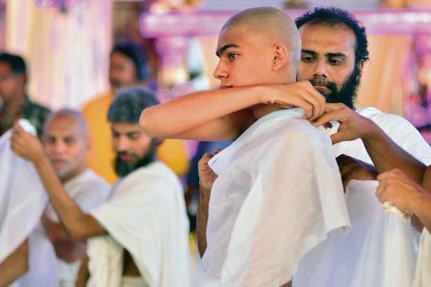 A young monk dons his new attire at the 'diksha' ceremony in Mumbai. Photo: Aniruddha Chowdhury/Mint