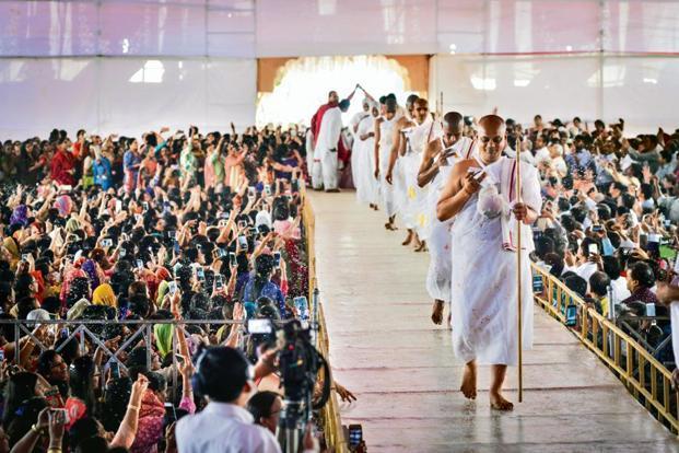 Newly ordained monks at the 'diksha' ceremony. Photo: Aniruddha Chowdhury/Mint