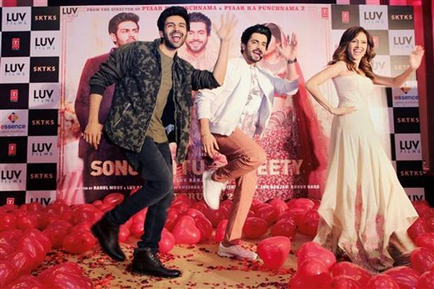 (From left to right) Bollywood actor Kartik Aaryan , Sunny Singh  and Nushrat Bharucha during a promotional event for Sonu Ke Titu Ki Sweety in New Delhi 14 February. Photo: PTI