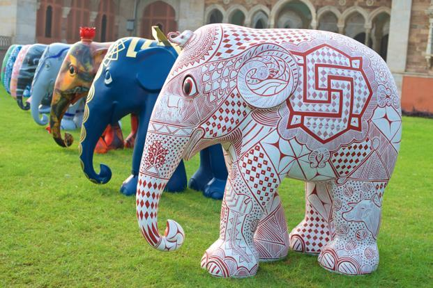 A selection of elephants lined up at Albert Hall Museum during the Jaipur preview of Elephant Parade India.