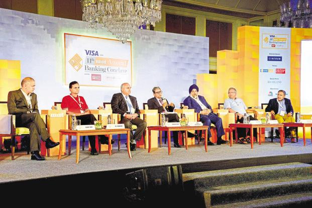 (From left) Rajeev Yadav, MD  and CEO of Fincare Small Finance Bank; Vasudevan P.N., MD and CEO of Equitas Small Finance Bank; Vishwavir Ahuja, MD and CEO of RBL Bank; Tamal Bandyopadhyay, consulting editor, Mint; Jaspal Bindra, executive chairman of Centrum Group; Samit Ghosh, founder, CEO and MD of Ujjivan Financial Services; and R. Baskar Babu, MD and CEO of Suryoday Small Finance Bank, at the 11th Mint Annual Banking Conclave in Mumbai. Photo: Abhikit Bhatlekar/Mint
