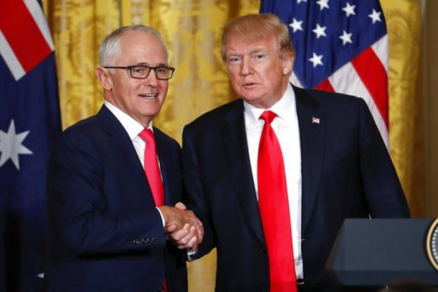 US President Donald Trump, Australian Prime Minister Malcolm Turnbull shake hands at the conclusion of their news conference at the White House in Washington on Friday. Photo: AP
