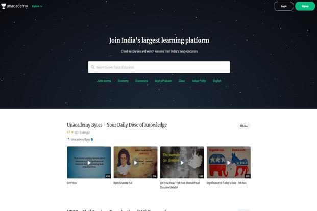 Since launch, Unacademy has built a platform for educators from various domains to create multimedia courses that are published on its app and website.