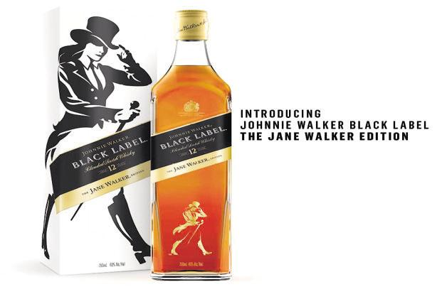 A limited US edition of the 'Jane Walker' whisky will have a striding woman on the label—rather than the traditional top-hatted man—and carry the name Jane Walker. Photo: Hughes Kenneth
